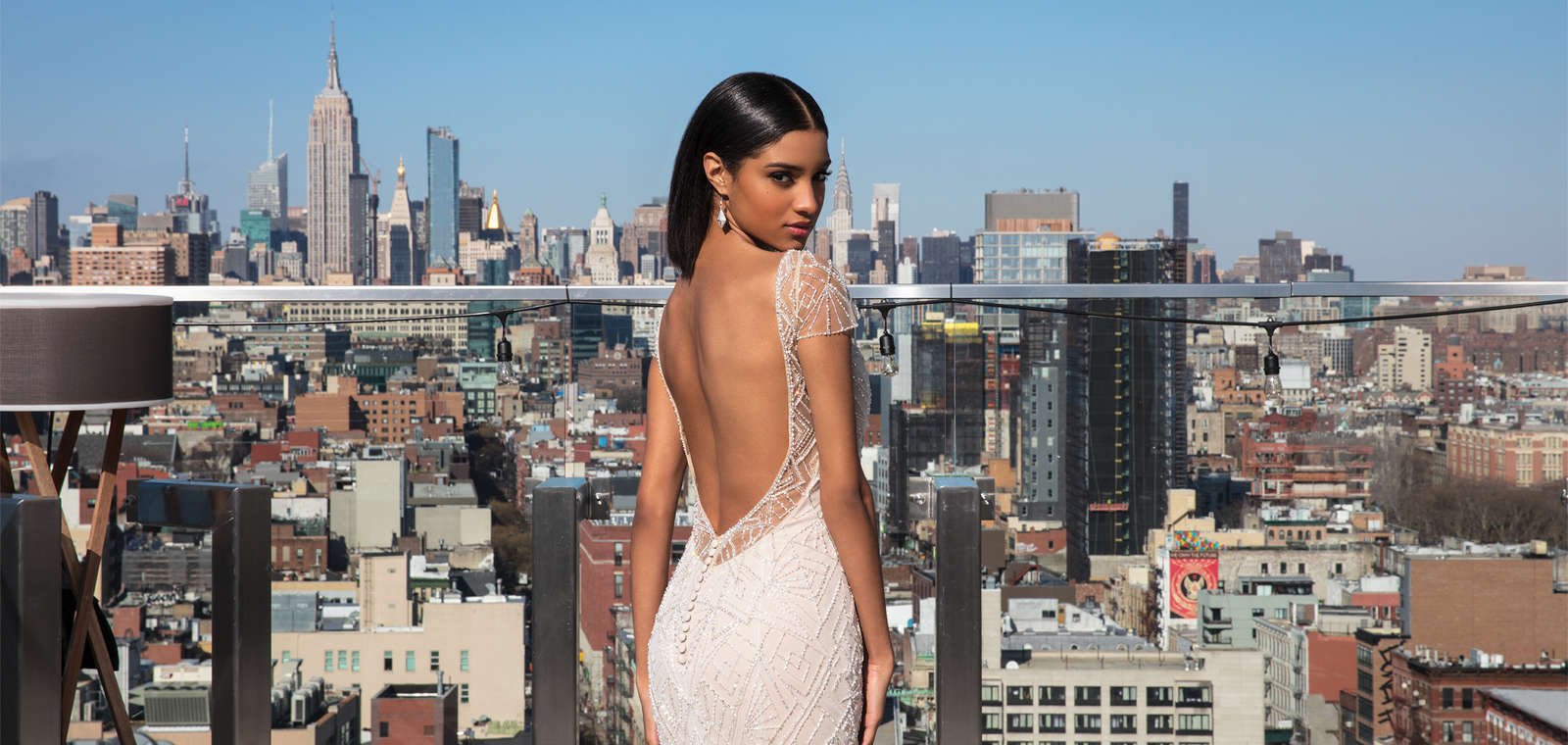 Hotel 50 Bowery_Justin Alexander Shoot 2018_Bride in Dress Turning Head