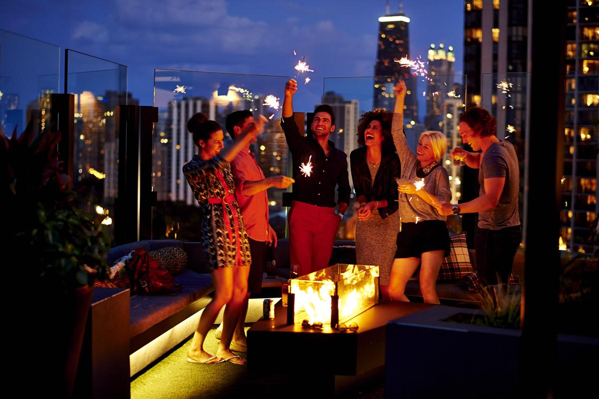 J Parker Fireplace Group Nighttime