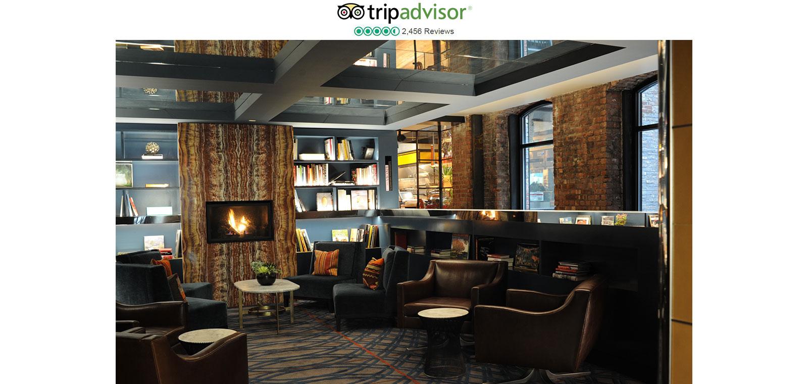 TripAdvisor Logo And Park South Lobby With Fireplace