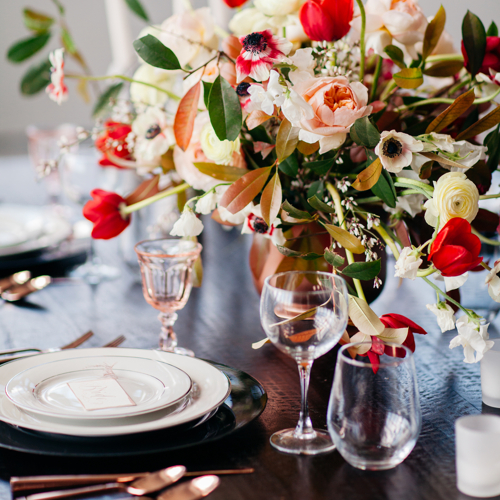 Flowers adorn table for a special event