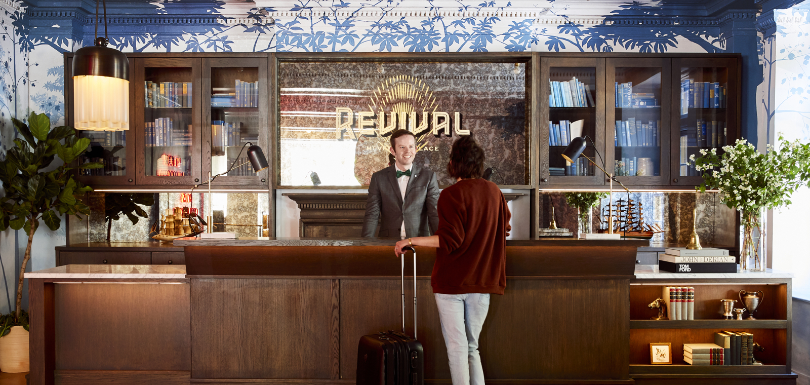 Lobby of Hotel Revival highlights local artists and purveyors, paying homage to Baltimore and the history of the address 101 W Monument.