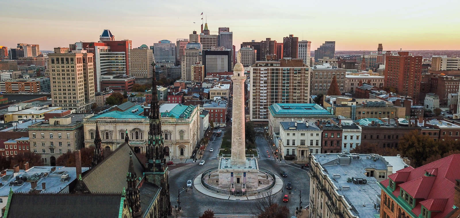 View Of Mount Vernon Place In Baltimore
