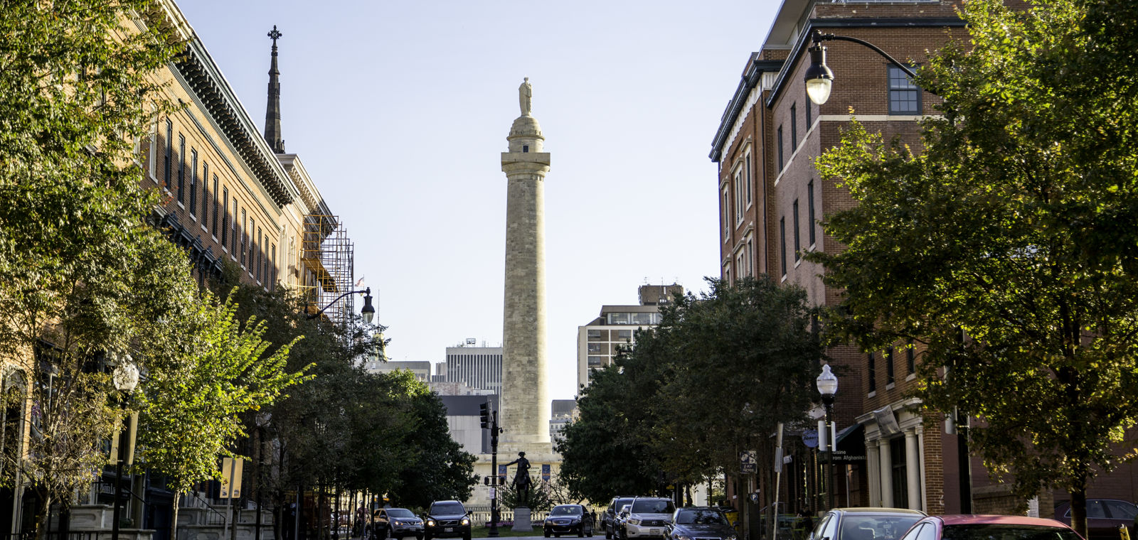 Washington Monument At Mount Vernon Place In Baltimore