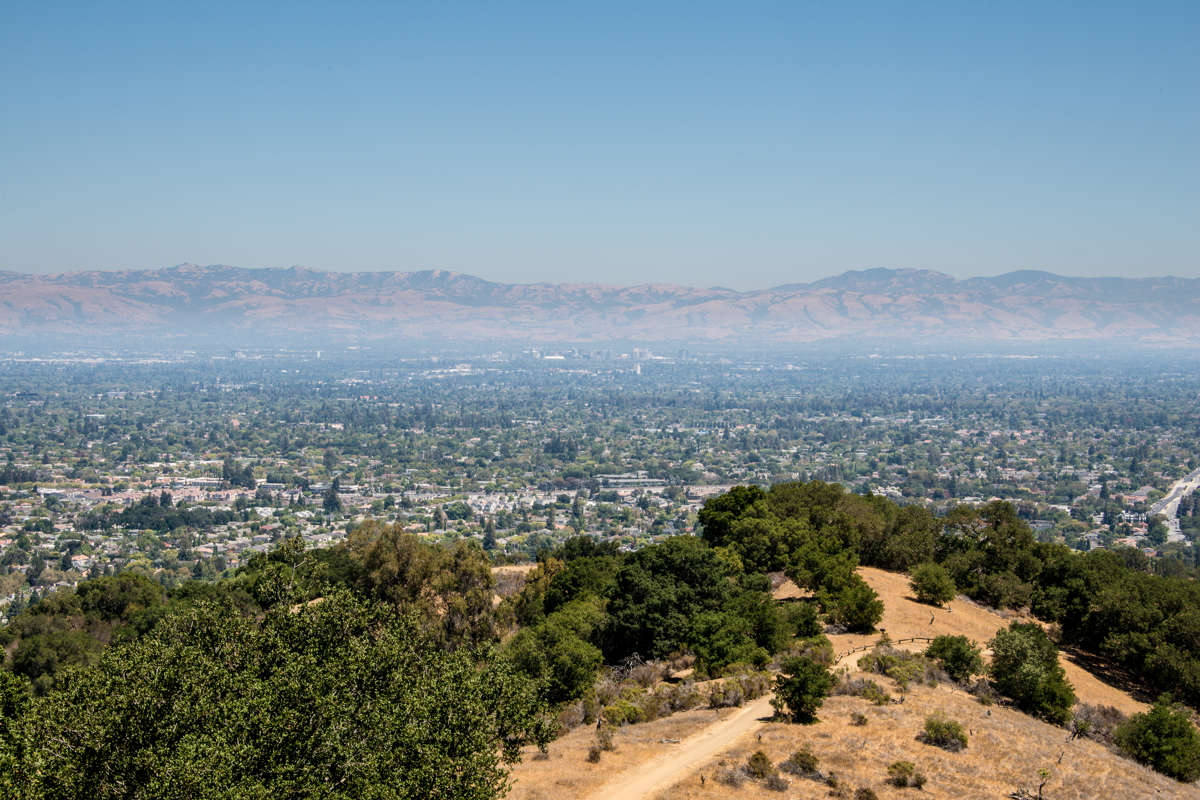 Silicon Valley as viewed from Hunter's Point in Fremont Older Open Space Preserve.  The cities of San Jose, Santa Clara, Sunnyvale, and Cupertino are visible.