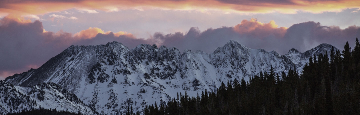 <b>Gorgeous sunset of the Gore Range Mountains in Vail, CO.</b>