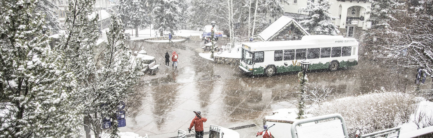 <b>Local bus stop at parking garage in Vail, CO.</b>