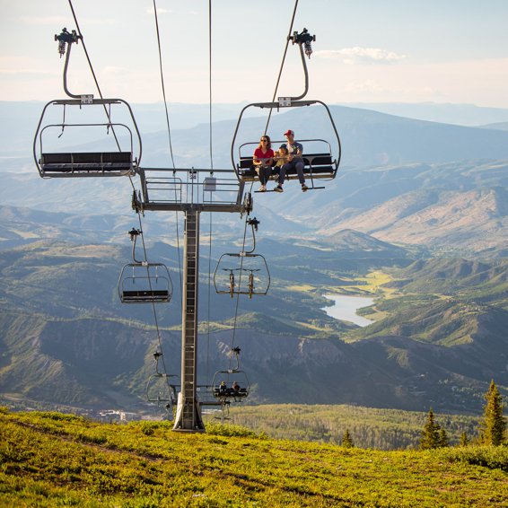 Summer chairlift rides on Snowmass mountain in Snowmass Colorado
