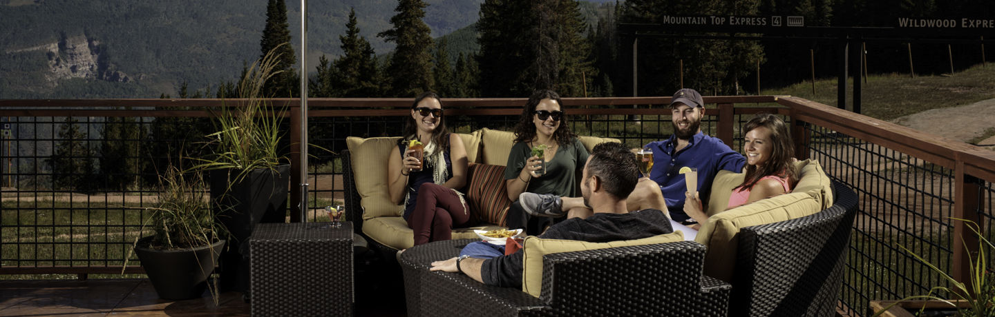 <b>Friends enjoys the mountain top restaurant, The 10th, in Vail, CO.</b>